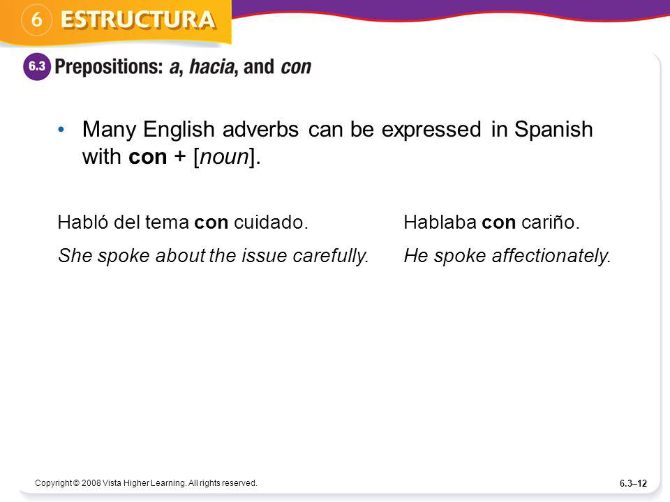 Many English adverbs can be expressed in Spanish with con + [noun].